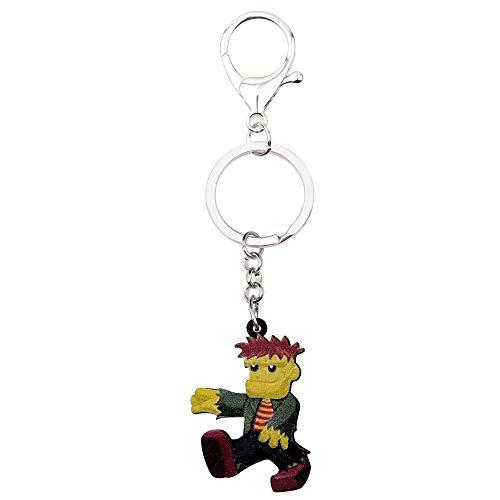 GPZEDCDB Schlüsselanhänger Schlüsselring Acryl Halloween Cartoon Zombie Boy Schlüsselanhänger Ringe Kostüme Schmuck Für Frauen Mädchen Teens Taschenanhänger Geschenk