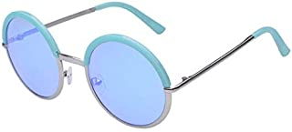 TT WARE Women Ladies Retro Round Lens Uv Protection Sun Glassess Full Frame Eyewear-Blue