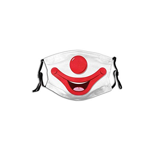 Cute Clown Big Nose Red Lips Dust Face Mask Reusable Washable Breathable Mouth Cover Adults Unisex Skiing Outdoors Traveling Balaclava Funny Joker Adjustable Decorative Masks with 2 Filter