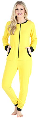 Sleepyheads Women's Fleece Non-Footed Solid Color Onesie Pajamas Jumpsuit, Yellow w/ Black Zipper, MED