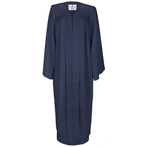 Lierys Toga Hombre/Mujer Negro, Azul, Rojo - Toga en Las Tallas S-XL - con Cierre a presión - Túnica para la graduación Escolar o universitaria Azul Oscuro S