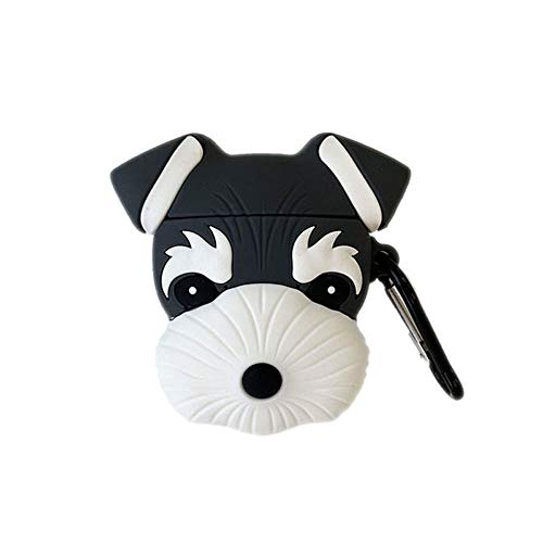 UR Sunshine AirPods Case, Newest Super Cute Sherry Schnauzer Dog Puppy AirPods Case, Ideal Gift Soft Silicone Earphone Protection Skin for AirPods1&2+Hook -Black