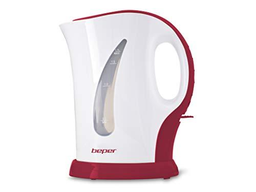 Beper 90.350H/RED Hervidor de agua eléctrico, 1.7 l, 2200 W, Plástico, Rojo...