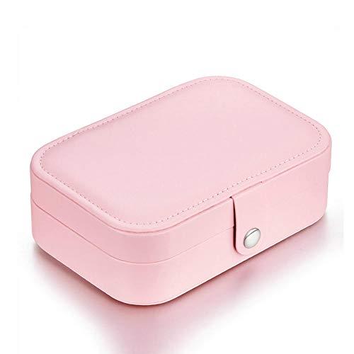 ASDMRQ Caja de joyería, caja de joyería de cuero multifuncional rosa, caja de joyería de almacenamiento, caja de almacenamiento de joyas de señora, caja de joyería de diseño simple