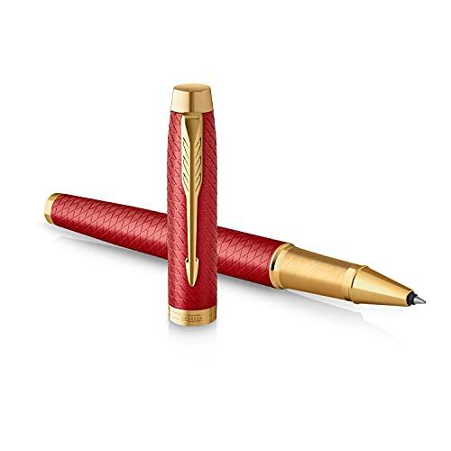 Parker IM penna roller | Rosso laccato premium con finiture in oro | Punta fine con ricarica di inchiostro nero | Confezione regalo