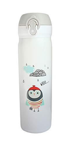 Emartbuy 500 ml Búhos Apertura Fliptop Spring Prueba de Fugas Acero Inoxidable Vacío Aislado Frio y Calor Botella de Agua Matraz Termo Niños Linda Cool - Blanco