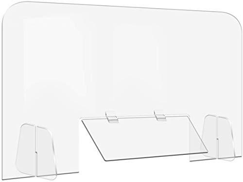 アクリルボード 透明(W600×H750) 5mm 飛沫感染対策 卓上 仕切り板 デスクパーテーションC 書類受渡し窓有組立式 受付 カウンター デスク仕切り 仕切り板 衝立 ソーシャルディスタンス 飲食店 オフィス 学校 病院 薬局 クリニック 透明アクリル板 (600x750mm)