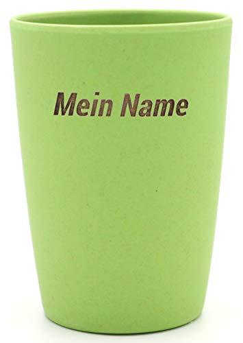 Magu 1 Becher mit Namen personalisierter Bambus Trinkbecher - Individuelle Namensgravur Zahnputzbecher 461 - naturgrün