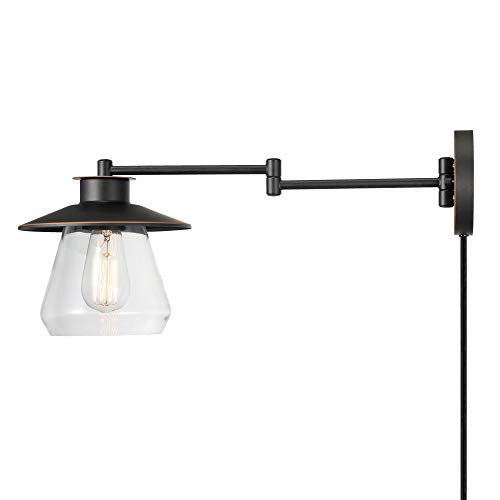 Globe Electric 51543 Nate 1-Light Plug-in or Hardwire Swing Arm Wall Sconce, Oil Rubbed Bronze, Clear Glass Shade, 6ft Black Fabric Covered Cord, Inline On/Off Rocker Switch