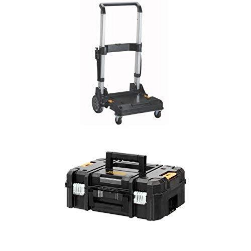 DEWALT DWST17888 TSTAK Trolley with Handle and DWST17807 TSTAK II Flat Top Toolbox Organizer