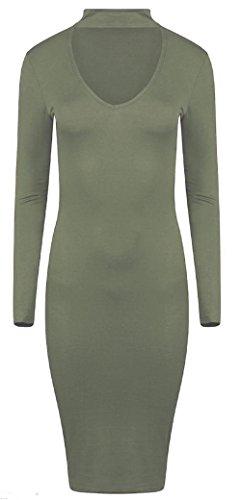 Momo&Ayat Fashions dames Choker met lange mouwen V-hals Bodycon Midi jurk Britse maat 8-26