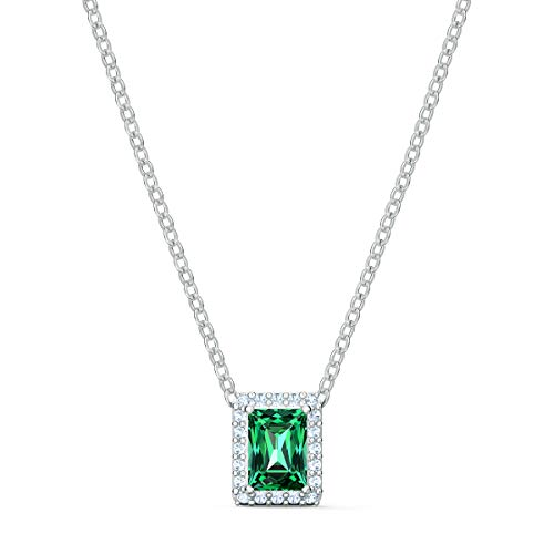 Swarovski Collana Angelic Rectangular, Verde, Placcato Rodio