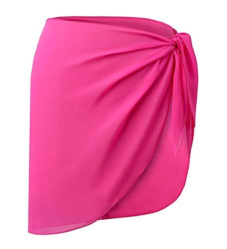 CARDYDONY Women's Beach Sarong Chiffon Cover up for Swimwear Pareo Swimsuit Wrap Skirt Rosy Short S-M