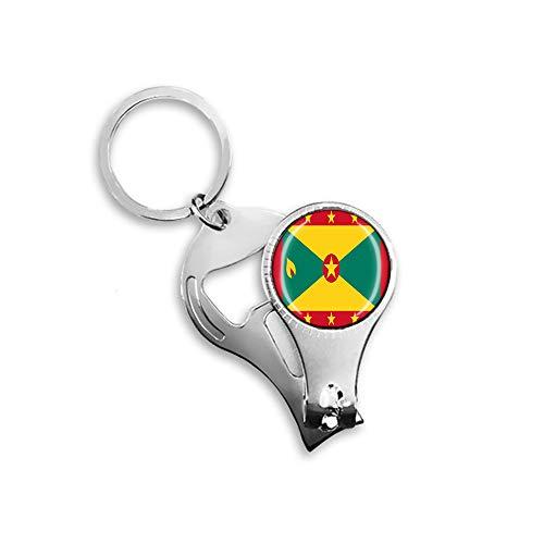 Grenada-Flagge Bierflaschenöffner Nagelknipser Metall Glas Kristall Schlüsselanhänger Reise Souvenir Geschenk Schlüsselanhänger Zubehör