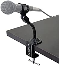 SpinTech Flexible Gooseneck Microphone Stand with Desk Clamp for Radio Broadcasting Studio, Live Broadcast Equipment, TV Stations (6, Clamp)