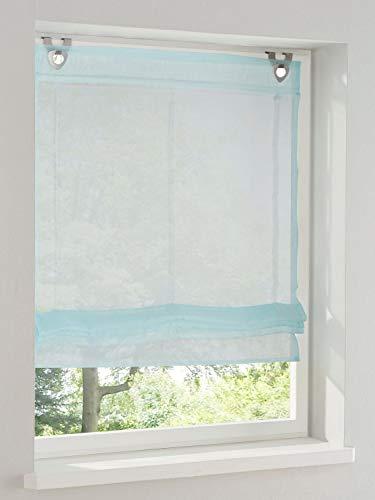 heine home Raffrollo transparent Türkis mit Ösen und Haken H/B 140x120 cm