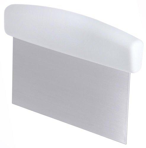 Contacto Bander - Spatola raschietto per pasta, con manico in ABS, 15 x 7,5 cm, in acciaio INOX opacizzato, colore: Bianco