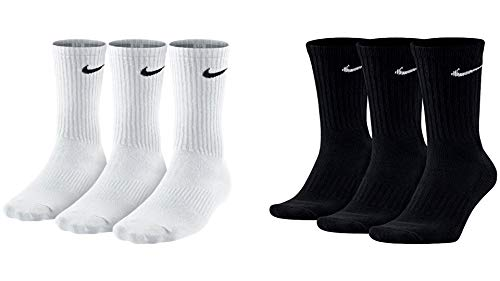 Nike 6 Paar Herren Damen Socken SX4508 weiß oder schwarz oder weiß grau schwarz, Sockengröße:34-38, Farbe:weiß schwarz