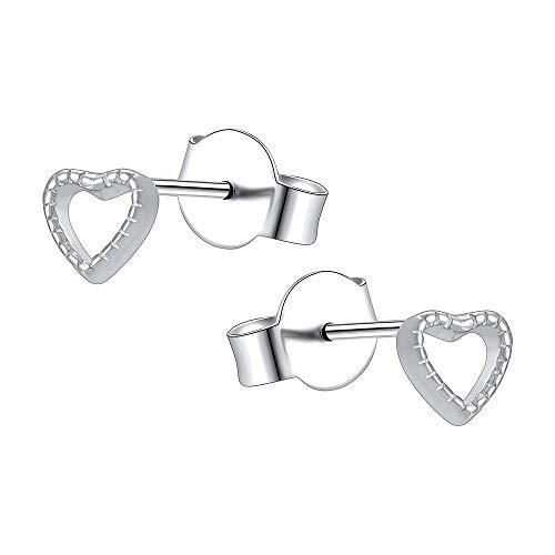 aoedej minimalista corazón Stud Pendientes 925pendientes de plata de ley pequeño corazón Stud Pendientes para las niñas y las mujeres
