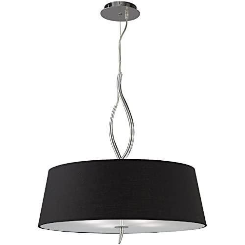 Inspired Mantra - Ninette - Lámpara colgante de techo cilíndrica 4 luces E27, cromo pulido con pantallas negras