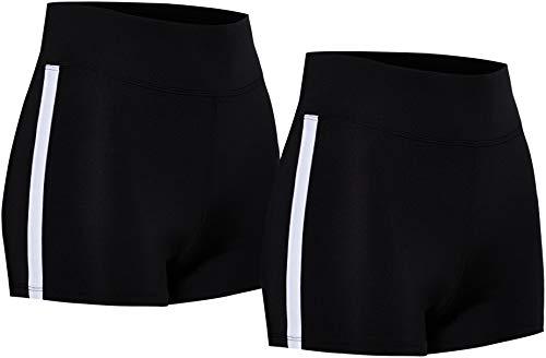 Marca Amazon - AURIQUE Shorts de Deporte con Banda Lateral Mujer, Negro (negro y negro)., 42, Label:L
