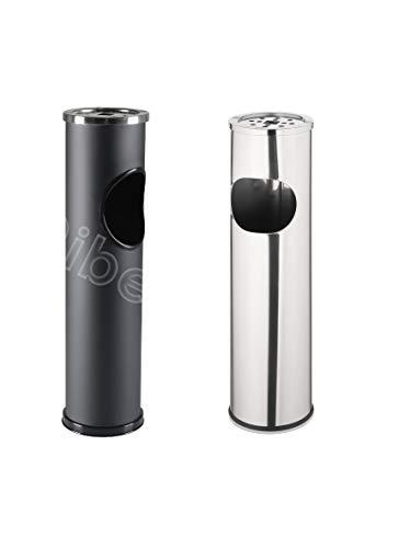 Ribelli Standabfallbehälter Aschenbecher Standascher Standaschenbecher Edelstahl/schwarz, Farbe:Edelstahl