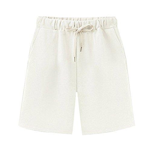 Women's Elastic Waist Soft Knit Jersey Bermuda Shorts with Drawstring White Tag 6XL-US 20