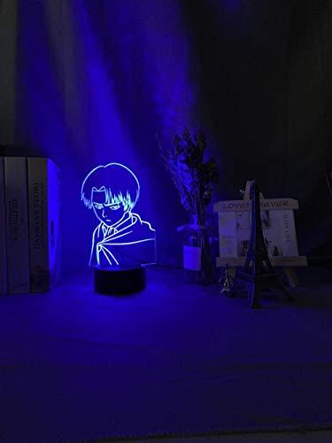 Lámpara de noche 3D Capitán Levi Ackerman Figura Luz de noche LED para niños Decoración de dormitorio infantil Luz de noche Lámpara de mesa colorida Gift-Fernbedienung