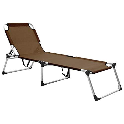 vidaXL Extra Hohe Senioren Sonnenliege Klappbar Liege Gartenliege Klappliege Relaxliege Strandliege Freizeitliege Campingbett Braun Aluminium