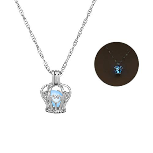 Pendant Women Grow-in-the-dark Hollow Crown Necklace Jewelry Accessories,Colour:Sky Blue (Color : Sky Blue)