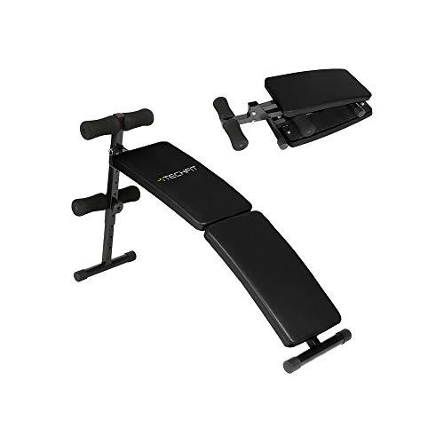 TechFit Power 100 Banco de Musculation Plegable Negro Multifuncional, Máquina de Abdominales Plegable con Altura Ajustable para Ejercicios de Levantamiento de Pesas y Tonificación