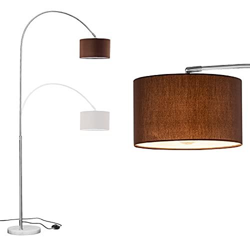 WUDSEE Lámpara de Arco Lámpara de Pie Arqueada Ajustable en Altura con Base de Mármol y Pantalla de Tela Adecuada para Lámparas Normales de Hasta 60 W, E27 Enchufe, Color: Altura125-180 CM, Marrón