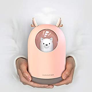 HOPEME Cool Mist Humidifier with Adjustable Mist Mode, 300ml Water Tank Lasts Up to 10 Hours, 7 Color LED Lights Changing, Waterless Auto Shut-Off for Bedroom, Home, Office (Pink Color)