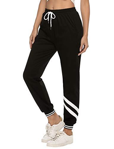 iClosam Pantaloni Tuta Donna, Pantaloni Sportivi Donna Vita Alta Pantaloni Cotone Tuta Donna per Allenamento Jogging Fitness Nero L