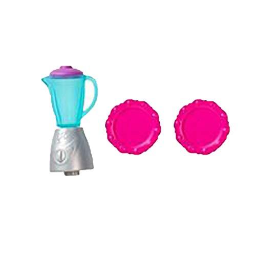 Piezas de repuesto para Barbie Dreamhouse – Muñeca Barbie Hello Dream House Dollhouse DPX21 | Incluye licuadora de tamaño de muñeca Barbie y 2 platos rosados