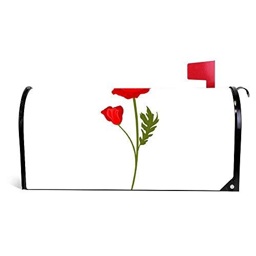 Wendana Heldere Rode Poppy Bloemen Met Stem Bloemen Ontwerp Postbus Cover Magnetische Vinyl Thuis Tuin Decor Postbus Wrap Post Brievenbus Cover 18