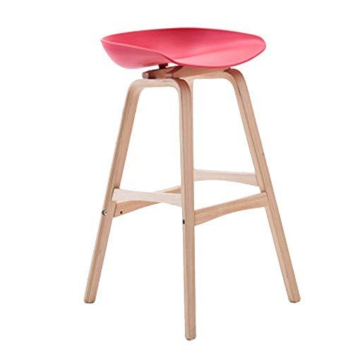 WTT barkruk van massief hout zitvlak ovaal eettafel eettafel stoel kruk zitvlak hoogte 75 cm (kleur: wit) Rood