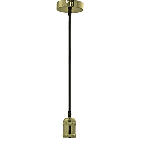 wonderlamp makami Douille Suspension Vintage E27 Laiton, cuir, 150 x 5 x 10 cm