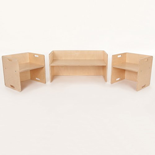 FLIXI Kindermöbel Set – 2 Kinderstühle – eine Sitzbank - Sitzgruppe aus Holz – mitwachsende Möbel mit Wendehocker – aus Birken-Multiplexholz