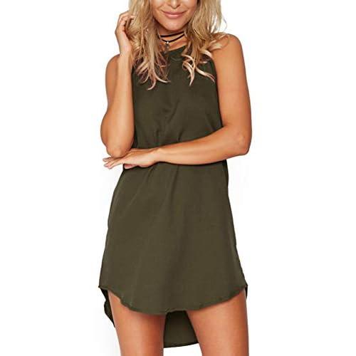 YOINS Women's Summer Mini Dresses Floral Print Sleeveless Dresses Plain Crew Neck Beach Dress Sundress Tank Vest Tops