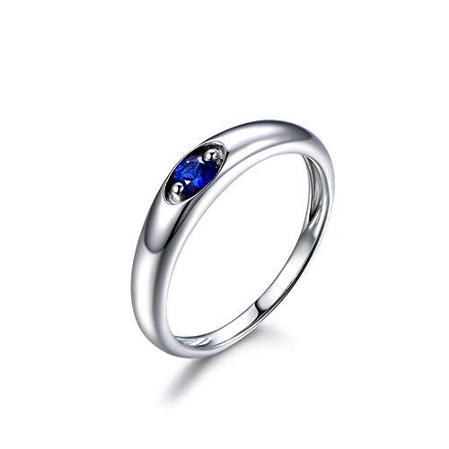Gems.RDX Anillo de Eternidad para Mujer 18K Oro Rubí Zafiro Diamante Anillos Compromiso de Boda, Sapphire,O