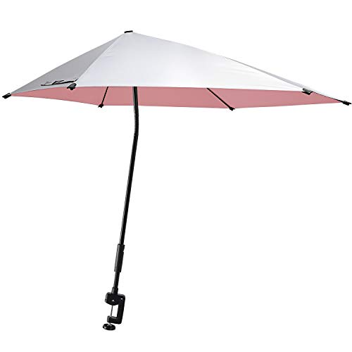 G4Free UPF 50+ Adjustable Beach Umbrella XL with Universal Clamp for Chair, Golf Cart, Stroller, Bleacher, Patio (Silver/Pink)