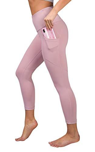 Leggins de yoga Capri de cintura alta con bolsillos laterales para teléfono - Rosa - Large