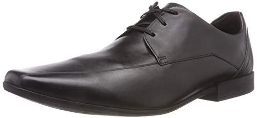Clarks Men's Glement Over Derbys, Schwarz (Black Leather), 43 EU