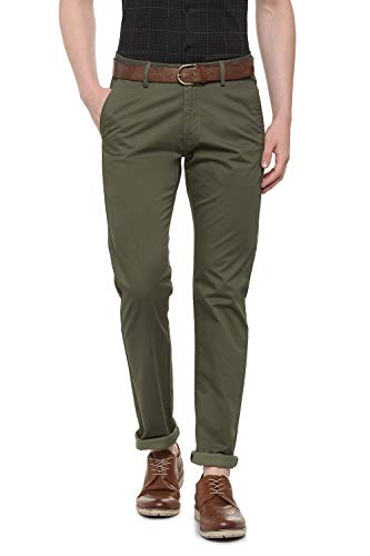 Allen Solly Men's Relaxed Fit Casual Trousers (ASTFGCFPB87501_Green_38)