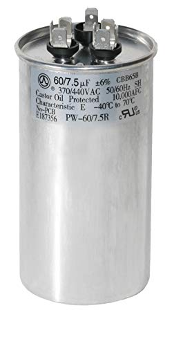PowerWell 60+7.5 uf MFD 370 or 440 Volt Dual Run Round Capacitor PW-60/7.5R Condenser Straight Cool/Heat Pump Air Conditioner - Guaranteed to Last 5 Years