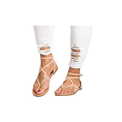 Sandales de Dame Les Sandalettes l'été Femme honestyi Summer Femmes Chers Cross Sangle Flat Cheville Roman Souliers Croix de Dame avec Orteil Plat Sandales (40=39/40 EU, Beige)