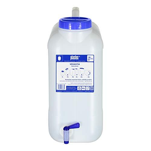 Plastex Wasserbehälter 16L lebensmittelecht mit Zapfhahn und Griff - BPA frei weithals Kanister mit Halterung und Hahn