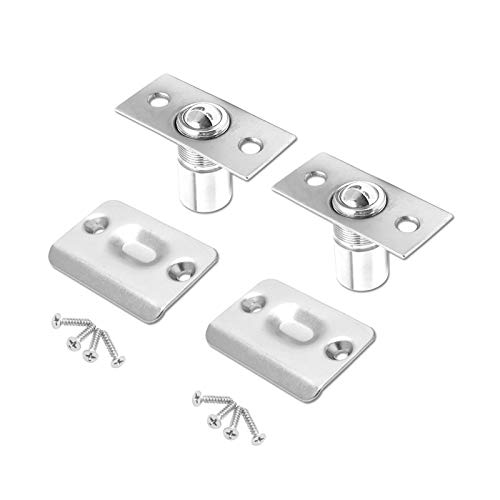 2 Pack Closet Door Ball Catch Cabinet Stainless Steel Adjustable with Strike Plate Drive-in Spring Ball Latches Brushed Satin Finish Ball Catch Hardware Rust Proof for Door Kitchen