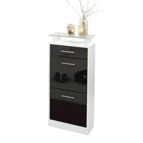 Gabinete para Zapatos Loret V2, Cuerpo en Blanco Mate/Frente en Negro de Alto Brillo